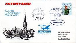 """(Bu-B1) DDR Sonderumschlag """"INTERFLUG 25 Jahre Flugverkehr BERLIN-WIEN"""" EF Mi 3108, SSt. 15.6.1988 BERLIN 7 - Briefe U. Dokumente"""