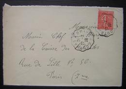 1928 Cachet Coutras à Brive Sur Une Lettre Pour Paris - Spoorwegpost