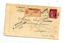 Lettre Recommandee Fougeres Sur Paix + Retour + Avisé - Marcophilie (Lettres)