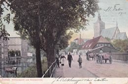451/ Rostock, Mühlendamm Und Nikolaikirche, Paard En Wagen, 1910 - Rostock