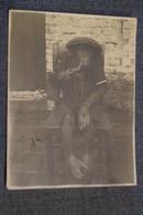 Ancienne Photo Originale,Singe Fumeur De Pipe,époque Congo Belge 1930,RARE Photo,11 Cm./ 8,5 Cm. - Photos