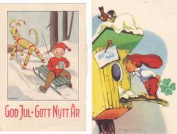 453/ 2 Kleine Kaartjes God Jul + Gott Nytt Ar, Zweden 1947 - Kerstman