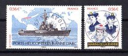 FRANCE Yvert N° 4423/24 Navire Porte-hélicoptères Jeanne D'Arc Avec Oblitérations D'époque Lisibles Et Bien Centrées - Frankrijk