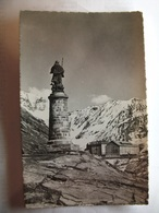 Carte Postale Suisse - Statue Et Hospice Du Grand Saint Bernard ( Petit Format Noir Et Blanc Non Circulée ) - VS Valais