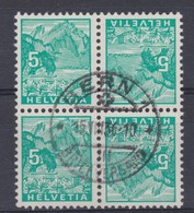 SUISSE 1934:  Bloc De 4 Du 5 C.,  Oblitération Centrale - Gebraucht