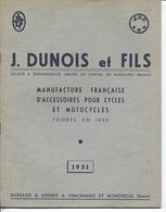 Plaquette Publicitaire & Commerciale - Ets J.DUNOIS & Fils - VINCENNES & MONTREUIL - Manufacture Accessoires Pour Cycles - France