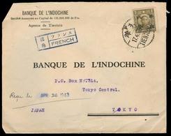China - XX. 1943 (17 April). Tientsin - Tokyo / Japan (26 April 43). WW II. Fkd Env + Censored Trilingual French Box. Ve - Cina
