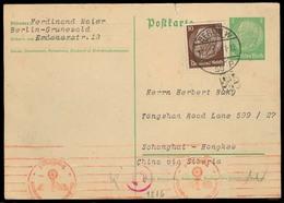 GERMANY - XX. 1940 (13 Dec). Berlin - China - Russia - Siberia. 5pf Stat Card + Adtl. Siberia - Hongkew. Censored + Arri - Non Classés