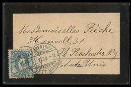 SWITZERLAND. 1906. Porrentruv - USA. Fkd Env 25c Grey - Green. Fine. - Suisse