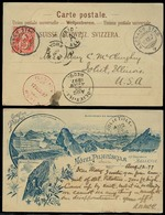 SWITZERLAND. 1897. Alpnach Stad - USA. Early Used Litho Postcard With Red Pilatus Kulm Hotel Cds Postmark. VF. - Svizzera