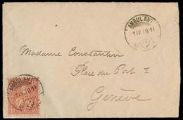 "SWITZERLAND. 1878 (11 May). Fkd Env 10c Rose, Cancelled ""ambulant / Tpo 1"". VF. - Suisse"