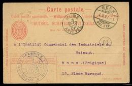 SWITZERLAND. 1907 (4 Oct). Berin - Belgium. 10c Stat Card. Belgian Consular Cachet On Front. Nice Item. - Svizzera