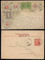 SWITZERLAND. 1899. Davos Platz - Belgium. Color Litho Swiss Stamps Postcards / Cantonals. A Classic Scarce Card In VF Co - Switzerland