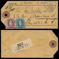 SWITZERLAND. 1897. Le Mont - Zurich. Tag Baj Reg Fkd 50c 1 Fr (the Best One). Tied Cds. Fine. - Switzerland