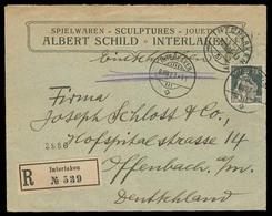 Switzerland - XX. 1923. Interlaken - Germany. Reg Fkd Env 80c Char. VF. - Switzerland