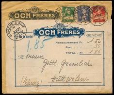 Switzerland - XX. 1927. Geneve - Huttwilen. Tricolor Reimboursement Ilustrated Fkd Env With Private Tied Label. Very Nic - Switzerland