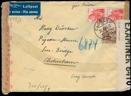 Switzerland - XX. 1943 (22 Jan). Clarens - UK. Air Multifkd Env Doble Censored. - Unclassified