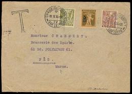 Switzerland - XX. 1936 (19 May). Chaux De Fonds - Marruecos Frances / Fkd Tax Env + T + Arrival. Scarce Dest At This Tim - Schweiz