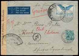 Switzerland - XX. 1939 (25 Nov). Chaux De Fonds - Cameroun. Air Multifkd Env / French Censor. Via Air France + Arrival C - Switzerland