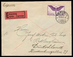Switzerland - XX. 1941 (12 April). Thalwil - Germany. Express Mail Fkd Env. Nazi Censorship Reverse. XF. - Switzerland