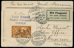 Switzerland - XX. 1925 (1 July). Zurich - Malta. Fkd Air Mail Card. Via Zurich - Laussane. Transits + Arrival Cachet. V - Switzerland