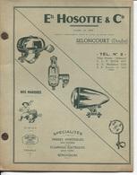 Plaquette Publicitaire & Commerciale - Ets J.HOSOTTE & Cie - SELONCOURT (Doubs) - Manufacture Accessoires Pour Cycles - France