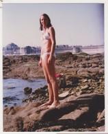 26897 Cinq Photos CONCARNEAU Bretagne France -touriste 1978 Belgique Fille Plage Voiture Diane Citroen - Lieux