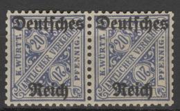 Deutsches Reich Dienst 2x60 Waag. Paar ** Postfrisch - Officials