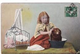 PETITE   FILLE  AVEC    POUPEE,,,,,VOYAGE 1908,,,, - Enfants