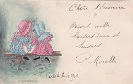 CONFIDENCES,,,,2 PETITES FILLES Sur Un BANC,,,,,On DIRAIT Une  AQUARELLE,,,VOY  1902,,, - Enfants