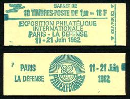 FRANCE - CARNET YT 2155-C2 - OUVERT - GOMME BRILLANTE - DATE - Usados Corriente