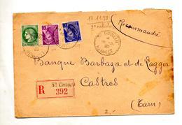 Lettre  Recommandee  Saint Chinian Sur Ceres Mercure - Marcophilie (Lettres)