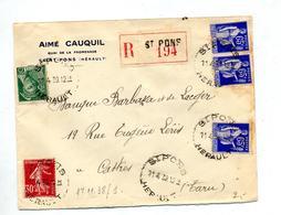 Lettre  Recommandee  Saint Pons Sur Paix Semeuse Mercure - Marcophilie (Lettres)