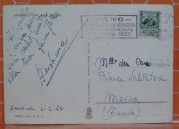 1953 Italia Storia Postale FANO Carnevale Adriatico Corso Mascherato Su Cartolina Annullo Ancona - 6. 1946-.. Repubblica