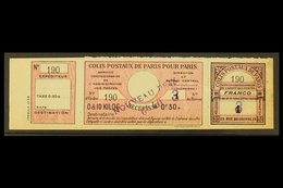 "PARCEL POSTS FOR PARIS 1919 40c On 30c+ Rose, Se-tenant Strip Of 3, Maury 45, Fine ""mint"" Part Og. For More Images, Plea - France"