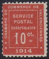 """WAR STAMP 1914 10c Vermilion Inscribed """"Chambre De Commerce De Valenciennes,"""" Yvert 1, Very Fine Mint. For More Images,  - France"""