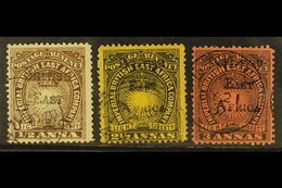 """1895 ½a, 2½a, And 3a Handstamped """"BRITISH EAST AFRICA"""", SG 33, 36, And 37, Fine Used. (3 Stamps) For More Images, Please - Publishers"""