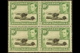 1938-54 10c Black And Green Block Of Four With One Stamp (top Right) Showing The MOUNTAIN RETOUCH, SG 135+135a, Never Hi - Publishers