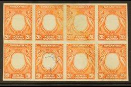 1938-54 FRAME ONLY IMPERF PROOFS BLOCK. 20c Black & Orange (as SG 139) IMPERF PROOFS BLOCK Of 8 Of The FRAME ONLY Printe - Publishers
