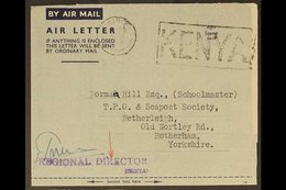 1947 AIR LETTER (June 3rd) Nairobi To Rotherham (Philatelic Content) From Postmaster General To TPO & Seapost Society, S - Publishers