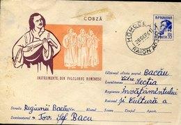 43515 Romania, Circuled  Cover 1961 From Homocea ,stationery Instrumente Din Folclorul Rominesc - 1948-.... Républiques
