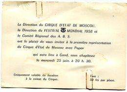 Gent Uitnodiging ( Geen Postkaart ) Circus Cirque D'Etat De Moscou Avec Popov - Gent