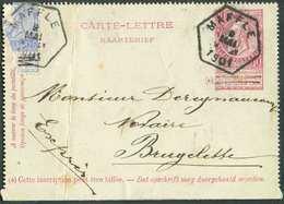 N°60(défectueux) En Affranchissement Compl. S/E.P. Carte-lettre 10 Cent. Fine Barbe, Obl. Ferroviaire Hexagonale MAFFLE - Postbladen