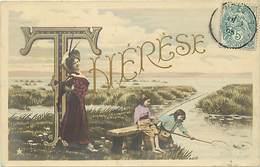Themes Div-ref BB54- Prenoms - Prenom Therese - Lettre Alphabetique - Alphabet Lettre T - Carte Bon Etat - Prénoms