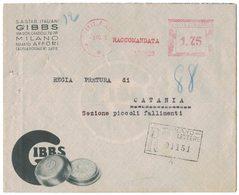 YN148   Regno 1935 Annullo Meccanico Rosso Su Busta Pubblicitaria GIBBS Milano Racc. £.1,75 Per Catania - Storia Postale