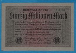 DEUTSCHES REICH 50 Millionen Mark01.09.1923Serie AB 24 # 041881 P# 109a - [ 3] 1918-1933: Weimarrepubliek