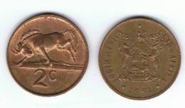 SUD AFRICA -  2 Cents  1981  KM83 - Ñu / Wildebeest - Animal Coin - Sudáfrica