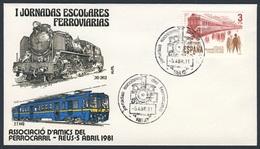 Spain Espana 1981 Cover / Brief / Envelope - Jornadas Escolares Ferroviarias / Eisenbahnschultage / Railway School Days - Treinen