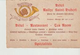 HOTEL RALLYE SAINT HUBERT - PARC DE GENVAL LES EAUX - RESTAURANT - TEA ROOM - PÈCHE - NATATION - TENNIS - CANOTAGE - GAR - Publicités