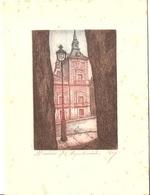 """MADRID - Gravure """"El Ayuntamiento"""" - Dessin Signé POY - Format 20.5x15.5 - Old Paper"""